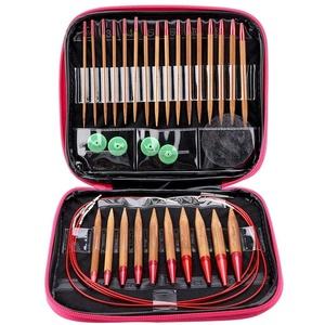 Rundstricknadel, austauschbare Carbonized Bamboo Needles Set Aluminium Rundstricknadeln Ring Set