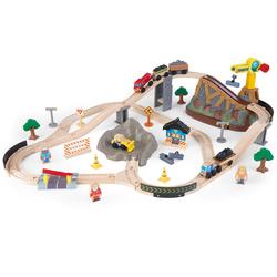KidKraft Spielzeug-Eisenbahn Eisenbahnset Baustelle mit Aufbewahrungsbox bunt Kinder Ab 3-5 Jahren Altersempfehlung Spielzeugfahrzeuge