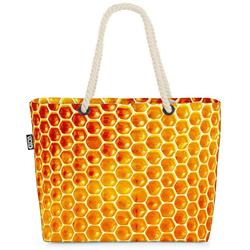 VOID Strandtasche (1-tlg), Honigwaben Beach Bag Honig Bienen Waben Marmelade Süß Essen Kochen Garten Imker
