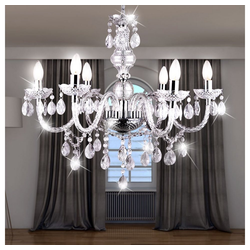 etc-shop Kronleuchter, LED Design Kronleuchter Decken-Lampe Pendel- Hänge-Beleuchtung Wohn- Schlaf- Zimmer Chrom