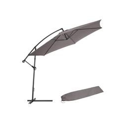 tectake Sonnenschirm Sonnenschirm Ampelschirm Ø 350cm mit Schutzhülle grau