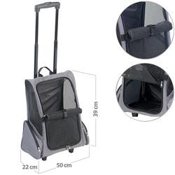 2in1-Hunde-Trolley und Rucksack mit Sichtfenster, bis 20 kg, anthrazit