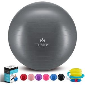 KESSER Gymnastikball, Fitness Ball Gymnastik mit Luftpumpe dicker Yogaball BPA-frei Sitzball Anti-Burst grau 55 cm