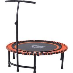 HOMCOM Fitness-Trampolin mit Haltegriff schwarz, orange 114,3 x 122-138 cm (ØxH)   Gartentrampolin Yogatrampolin Trainingstrampolin