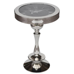 Casa Padrino Wohnzimmer Beistelltisch mit Uhr Silber Ø 40 x H. 58 cm - Luxus Wohnzimmermöbel
