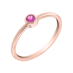 Minimalistischer Ring aus Gold mit rosa Saphir Rossa
