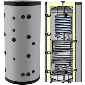 Hygienespeicher, Boiler mit Edelstahlwellrohr zur legionellenfreien Trinkwasseraufbereitung mit 1 zusätzlichen Wärmetauscher, Pufferspeicher, Trinkwasserspeicher 300 Liter
