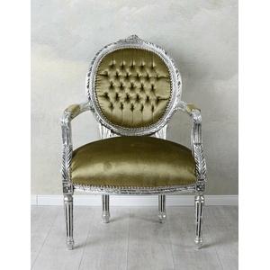 Barockstuhl Samtstuhl Sessel Barock Silber Armlehnstuhl Antik Louis Seize Stuhl