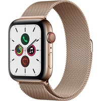 Apple Watch Series 5 GPS + Cellular 44 mm Edelstahlgehäuse gold, Milanaise Armband gold
