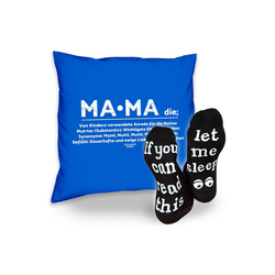 Soreso® Dekokissen Kissen Mama & Sprüche Socken Sleep, Muttertagsgeschenk Mama Muttertag blau