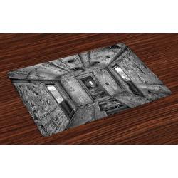 Platzset, Waschbare Stoff Esszimmer Küche Tischdekorations Digitaldruck, Abakuhaus, (4-teilig, 4 Teilig-St., Set aus 4x), Schwarz Antike Eisenbahnwaggon