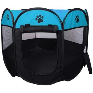 KEESIN Faltbares Haustier Zelt 8-Panel Mesh Haus WelpenLaufstall Hundehütte für Hunde Katze Kaninchen (91 * 91 * 58cm, Blau)