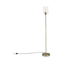 Qazqa - Moderne Stehlampe Gold mit Glas - Kuppel