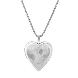 Herzmedaillon aus Silber mit Hundepfote Vretu