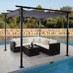 Pergola MCW-C42, Garten Pavillon, stabiles 6cm-Gestell + Schiebedach ~ 3,5x3,5m grau