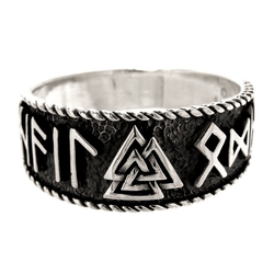 Kiss of Leather Silberring Ring Wotansknoten Valknut Hail Odin Wotan aus 925 Sterling Silber, Gr.52-74 74