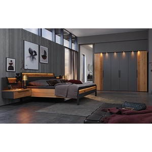 Musterring Schlafzimmer Joline in Lack graphit/Wildeiche massiv, Schrankbreite ca. 299 cm, Liegefläche ca. 180 x 200 cm