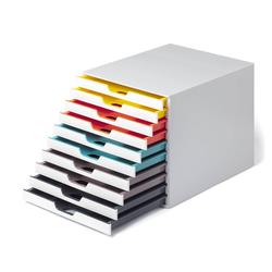 DURABLE Schubladenbox, Durable 763027 Schubladenbox A4 (Varicolor Mix) 10 Fächer, mit Etiketten zur Beschriftung, mehrfarbig
