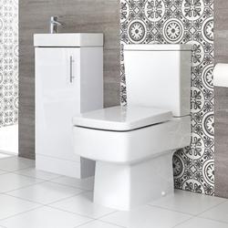 Eckiges Stand-WC und Standwaschtisch Set, Unterschrank B 400mm Farbe wählbar, von Hudson Reed