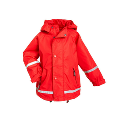 BMS Regenjacke atmungsaktive Regenjacke für Kinder - 100% wasserdicht mit Kapuze rot 80