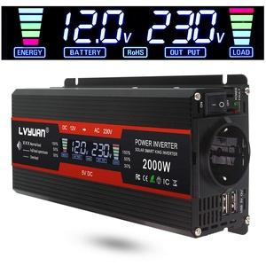 LVYUAN Spannungswandler 12V 230V 1000W / 2000W Wechselrichter LCD mit 2 USB