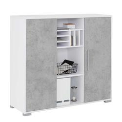 Büroschrank in Weiß und Grau Schiebetüren