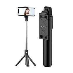 Kaku Kaku Bluetooth Selfie Stick mit Fernbedienung Stativ 360 Grad Drehkopf Selfiestick schwarz
