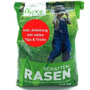 Premium Schattenrasen Rasensamen schnellkeimend für den Herbst 2,5kg = 70m2 | dürreresistent, robust, tiefgrün | Ideal für Rasen Reparatur, Rasen Nachsaat, Neuansaat