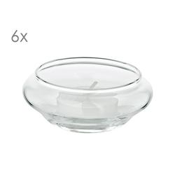 EDZARD Windlicht Iris (Set), Schwimm-Teelichthalter aus Kristallglas, Teelichtgläser, Höhe 4 cm, Ø 8 cm