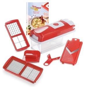 Genius Nicer Dicer Smart | 6 Pieces | Food-Chopper | Multi-Cutter | Slicer | Slicing | Grating | Dicing | Fruit + Vegetable Mandolin | NEW