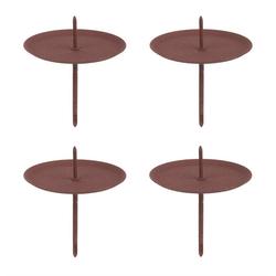 BigDean Teelichthalter 4x Kerzenhalter zum Stecken braun Rost−Optik 7x6 cm − Für Teelichter − Für Adventskranz & Gestecke (4 Stück)