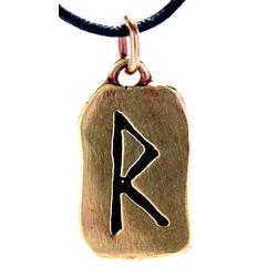 Kiss of Leather Kettenanhänger Rune Runen Anhänger Bronze Buchstabe R Rune Raido / Rad Wagenrad