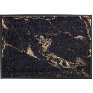 Schöner Wohnen Kollektion strapazierfähige Schmutzfangmatte Miami – getuftete Fußmatte 67x100 cm in Marmor anthrazit-Taupe – waschbarer Sauberlauf