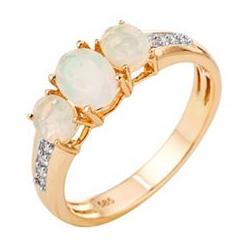 Afrikanischer Opal Ring zus. ca. 0,81ct 8 Brillanten 0,08ct Gold 585