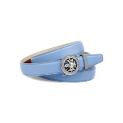 Anthoni Crown Ledergürtel in hellblau mit Kristall-Glas-Schnalle 80