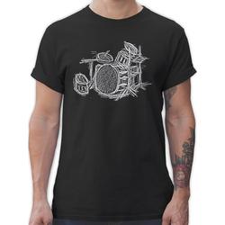 Shirtracer T-Shirt Schlagzeug - Kreidezeichnung - Music - Herren Premium T-Shirt M