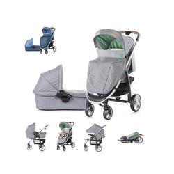 Chipolino Kombi-Kinderwagen Kinderwagen Avenue 2 in 1, Ein-Hand-Faltsystem, Babywanne, Sportaufsatz grau