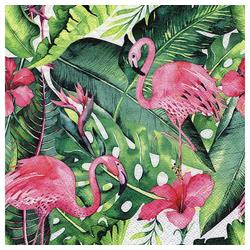 Linoows Papierserviette 20 Servietten Tropen, Flamingos, Strelitzien und, Motiv Tropen, Flamingos, Strelitzien und Hibiskus