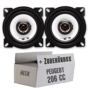 Alpine SXE-1025S - 10cm Koaxsystem - Einbauset für Peugeot 206 CC Heck - JUST SOUND best choice for caraudio