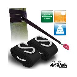 AMANKA Wandhaken Hängematten Befestigung UV-Schutz Set + 2 Bänder, je 3,2m + 2 Haken max.250 kg