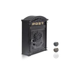 relaxdays Briefkasten Briefkasten Antik schwarz 31 cm x 9.5 cm x 44.5 cm