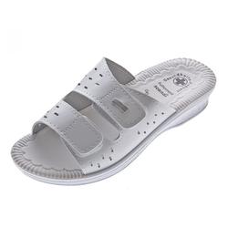 Scandi Clogs Pantoletten Latschen Gesundheits Schuhe Zehentrenner Gel-Effekt weiß 36 EU