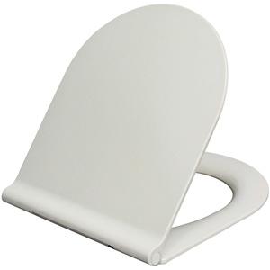 Grünblatt WC Sitz 515052, Modern Design Slim D-Form Toilettendeckel Klobrille Toilettensitz Duroplast, Absenkautomatik, weiß