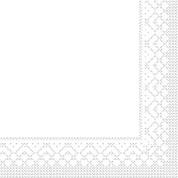 Mank Tissue Basics Servietten, 40 x 40  cm, 1/4 Falz, 3-lagig, 1 Karton = 6 x 100 Stück, 600 Servietten, weiß