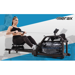Masbekte Rudergerät, Wasserrudergerät für Heimgymnastik, Wasserrudergerät Wasser Widerstand mit LCD-Monitor, Indoor-Cardio-Gerät Workout Sports Fitness