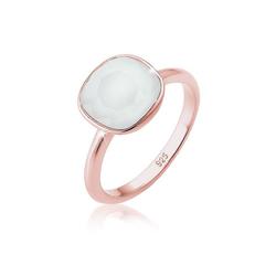 Elli Fingerring Kristalle 925 Silber Geschenkidee, Edelstein Ring grau 58