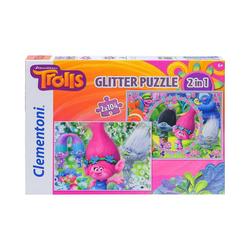 Clementoni® Puzzle Puzzle TROLLS 2in1 2 x 104 Teile, Puzzleteile