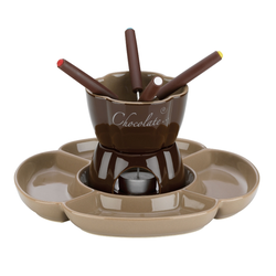 Schokofondue-Set Fiore Keramik braun 25,0x25,0x14,0cm 250,0ml