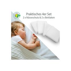 Matratzenauflage Jersey 1 Jahr Garantie, Alcube, 4er Set aus wasserdichter Matratzenauflage und Baumwoll-Spannbettlaken für Babybett und Kinderbett weiß 80 cm x 160 cm
