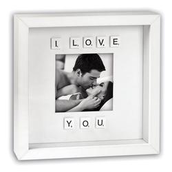 matches21 HOME & HOBBY Bilderrahmen Bilderrahmen mit Scrabble Buchstaben I love you, (1 Stück), Hochzeit